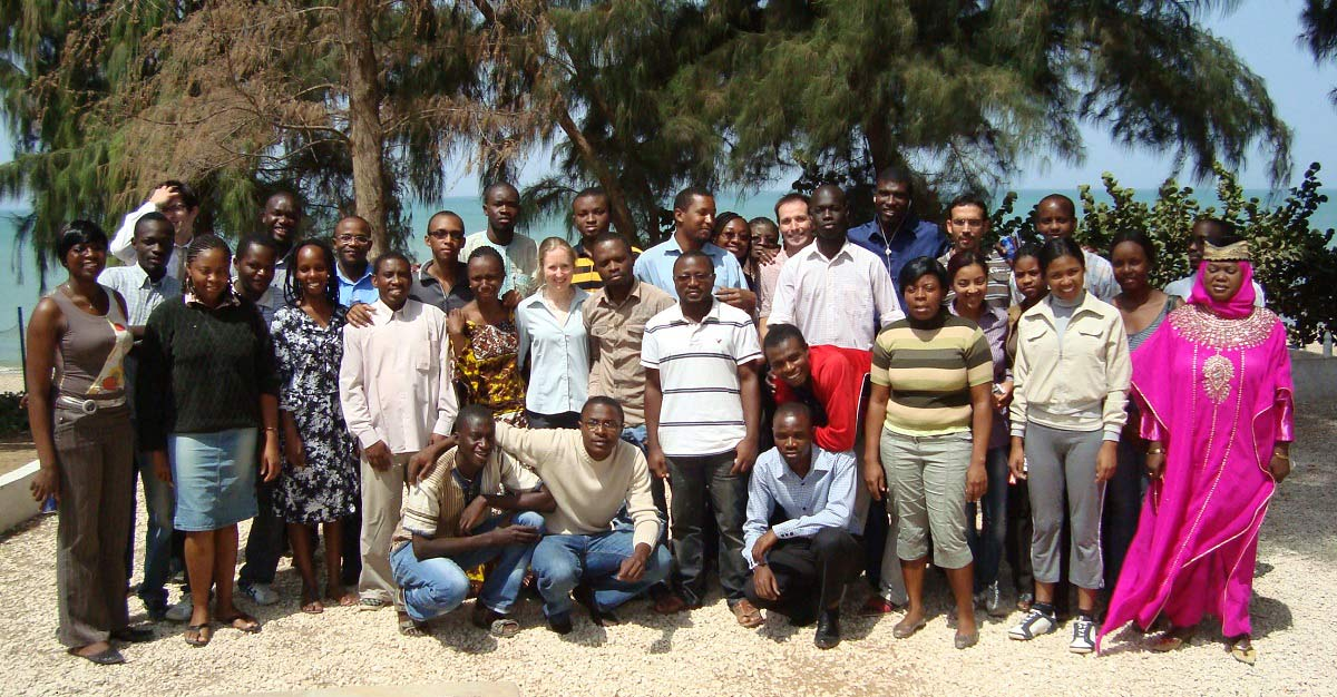 AIMS Senegal class photo, 2012: Yves Bourgault (right of centre, back row) is one of the uOttawa professors who has taught at AIMS centres.